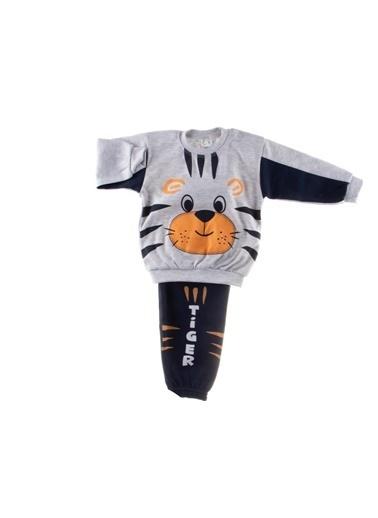 POKY Yeni Sezon Erkek Bebek Tiger Baskılı Kaplanlı Omuzdan Çıtçıtlı 2'Li Takım Gri